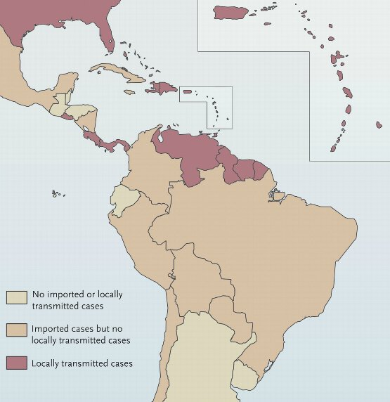 "Countries and Territories with Autochthonous Transmission or Imported Cases of Chikungunya Virus Infection, as of August 1, 2014. (Source:  ""Chikungunya Virus in the Americas — What a Vectorborne Pathogen Can Do"" (NEJM)"